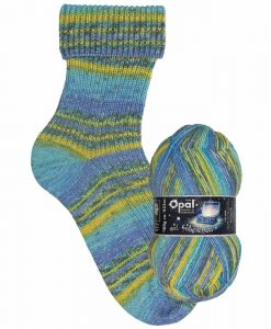 Opal Lucky mit Silbereffekt (with Silver Effect) 9484 Besonnen (Calm) 4-ply sock / glove knitting yarn